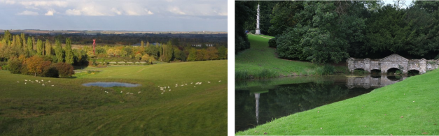 Campbell Park, central Milton Keynes, paired with a view from Stowe landscape gardens