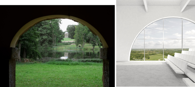 Stowe landscape, and a visualisaion of hte multi-purposes auditorium overlooking Campbell Park