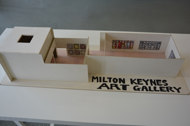 Gallery model made by Gilbert & George indicating how they proposed to hang their pictures (1999).
