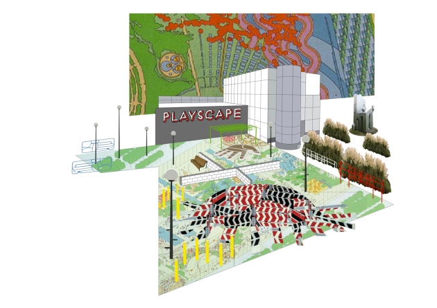 Gareth Jones and Nils Norman: City Club - sketch for a Playscape,